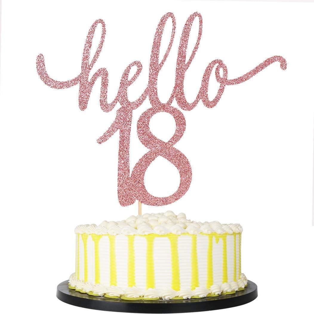 palasasa Rose Gold Hello 18 Cake Topper - 18Anniversary Party Cake Decor/Wedding Party Decoration/ Birthday Cake Topper (18)