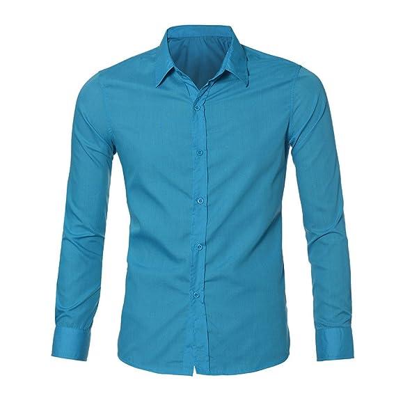 4349173bd Hombre Camisa de Algodon Negocios Color sólido Camisa Manga Larga Slim Fit Camisa  Manga Larga para Hombre Camisa Formal Casual de Primavera de los Hombres ...