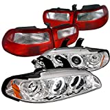 94 honda civic clear taillights - Honda Civic 3Dr Chrome Halo LED Projector Headlights+Red/Clear Tail Lights