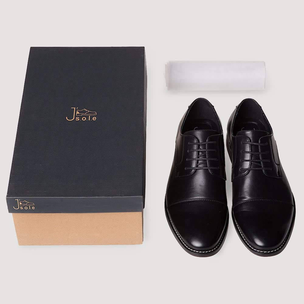 J/'s.o.l.e Mens Leather Lined Formal Oxford Cap Toe Lace Up Dress Shoes