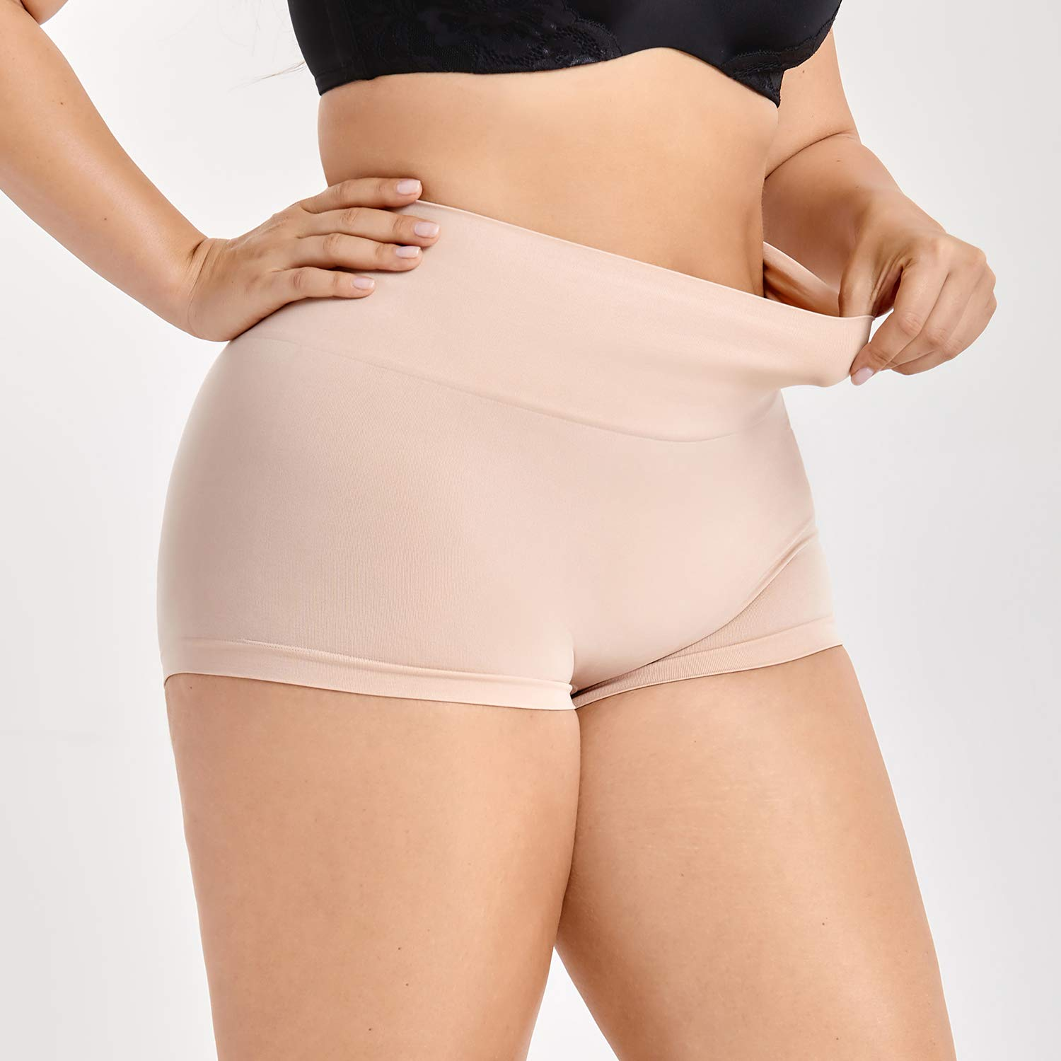 2038cf4330cd DELIMIRA Women's Plus Size Tummy Control Panties Thigh Slimmer Shapewear  Shorts at Amazon Women's Clothing store: