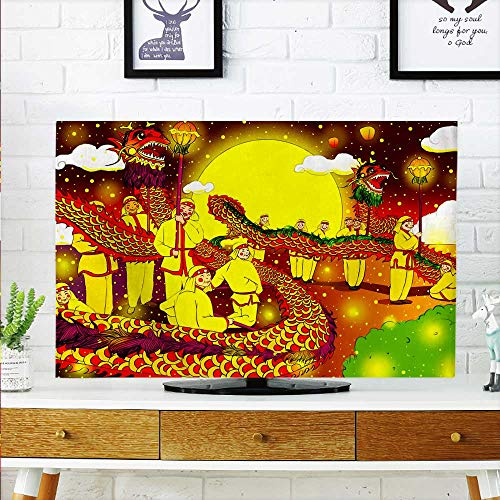 52 Wall Mount Lantern - aolankaili Cover for Wall Mount tv Lantern Festival Dragon Dance Cover Mount tv W30 x H50 INCH/TV 52