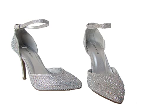4078711b825 Top Guy Vi-4 Womens Rhinestone Embellished Ankle Strap Pointed Toe D Orsay  High