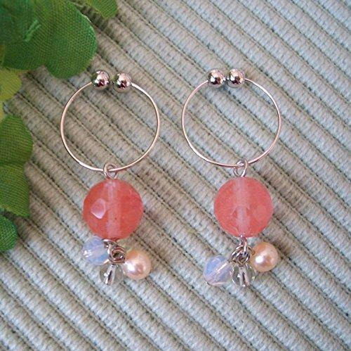 Cherry Quartz & Freshwater Cultured Pearl & Opal & Clear Quartz . Non-hall Pierced Earrings Gemstones . Silver Plating Earrings ()