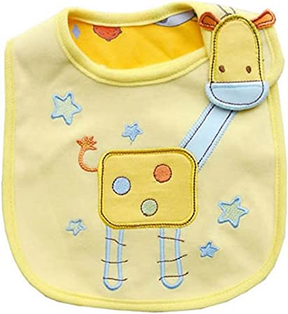 Kanggest Encantador Patrón de Dibujos Animados Babero de Algodón de Bebés para Bebé Niño Babas Toalla Saliva Impermeable Quitababas para Comer (Jirafa Amarillo): Amazon.es: Hogar