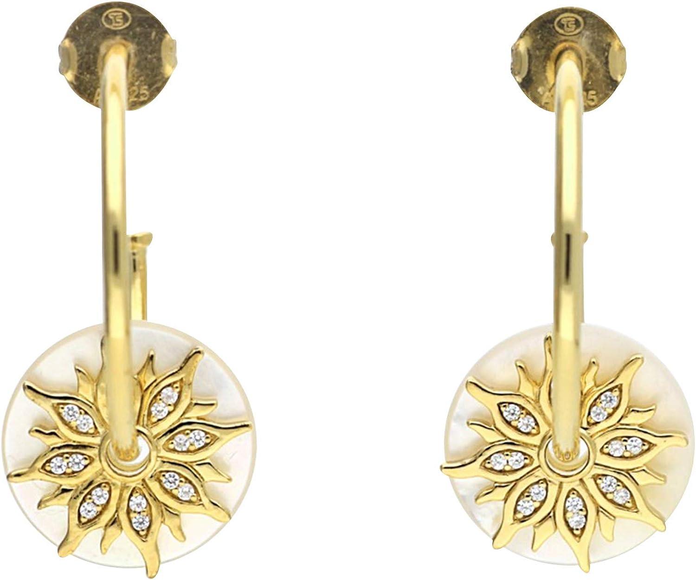 Thomas sabo - Thomas bloqueo cr585-446-14 pendientes de aro pendientes de plata de oro brillantes de nácar y circonita blanca diámetro de 39 mm
