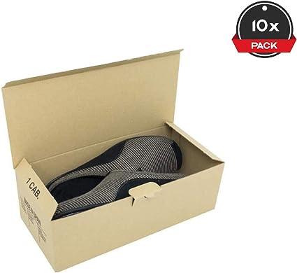 Cajeando | Pack de 10 Cajas de Cartón Automontables para Zapatos | Tamaño 31 x 14 x 10,5 cm | Zapatero Apilable y Ordenación de Sneakers o Zapatillas | Guarda Zapatos ...