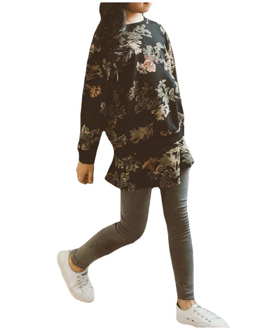 Coolred Girl Fine Cotton Flower Print Leggings Sweatshirt and Pant Set Grey 160