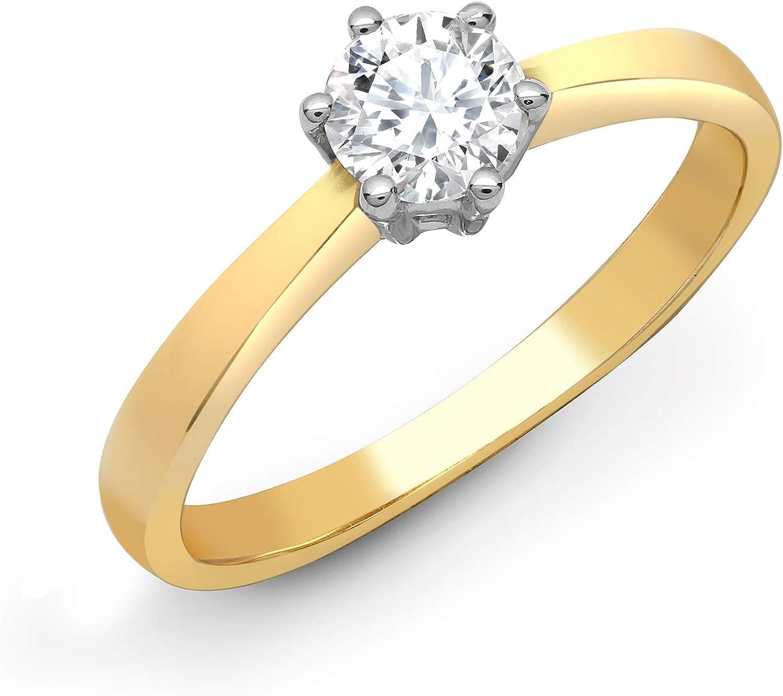 Jewelco Europa Juego de 6 garras de oro amarillo sólido de 18 quilates para mujer, redondo G SI1, 0.15 ct, diamante solitario, anillo de compromiso de 4 mm