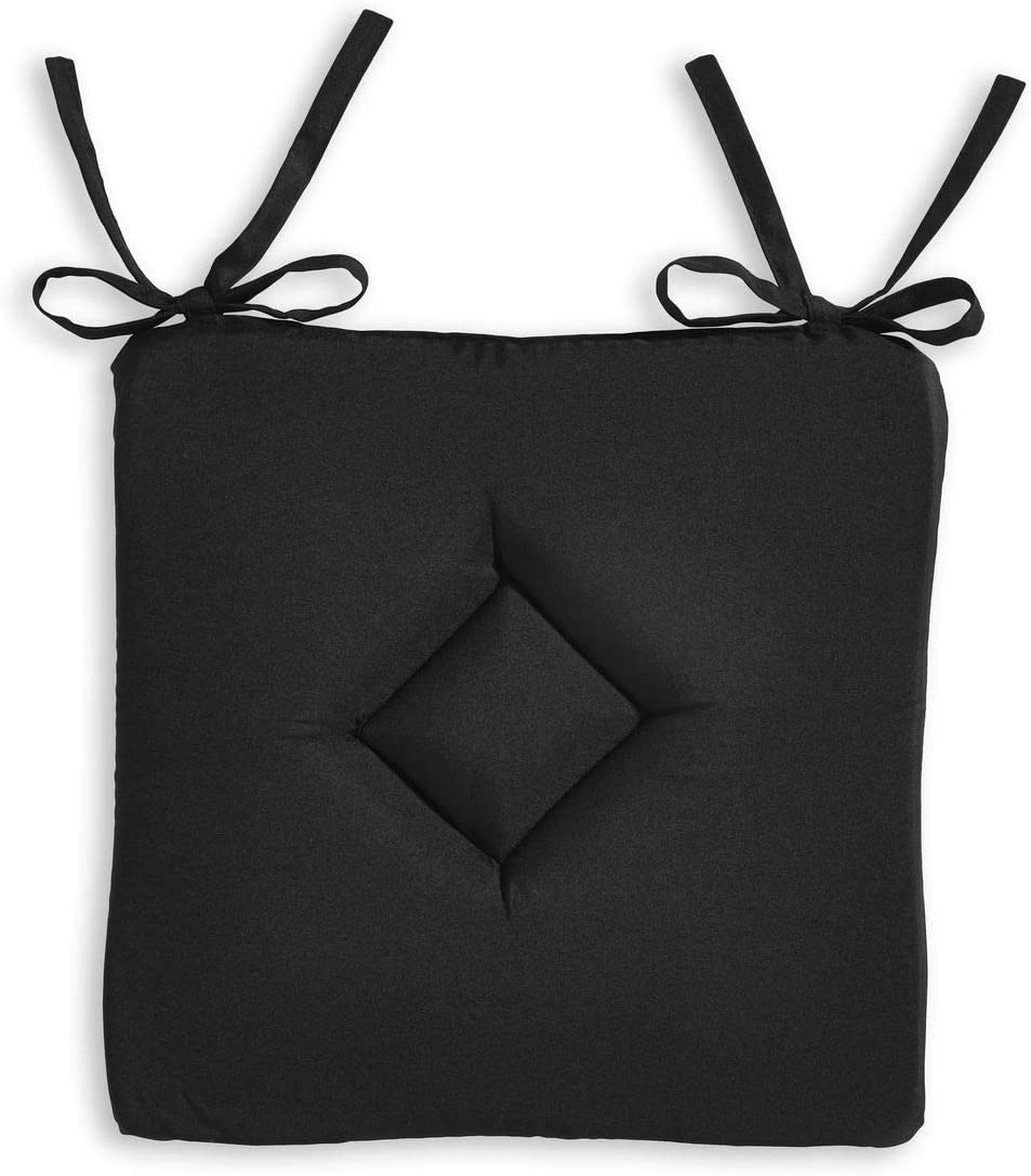 40 x 40 cm iDiffusion Lot 2X Galette de Chaise Classy Noir r/églisse