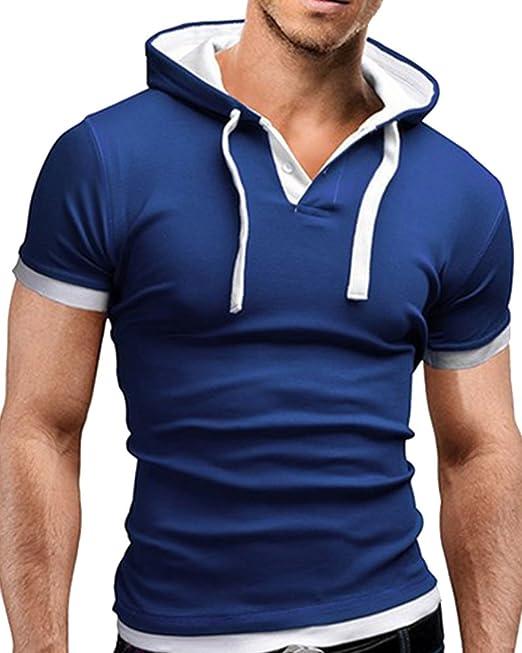 T-Shirt à Capuche Homme Tee Shirt Manche