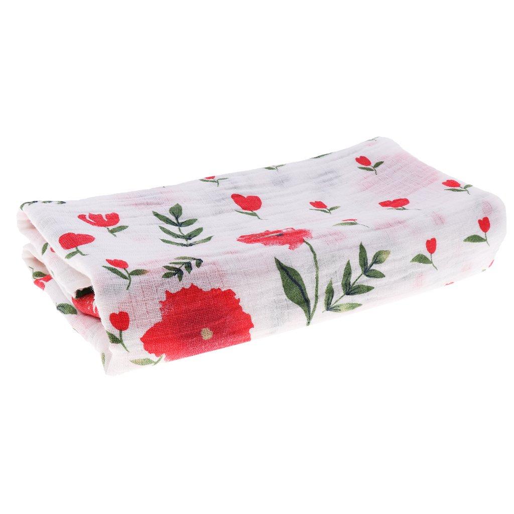 Homyl Baby Newborn Soft Muslin Cotton Blanket Pram Crib Moses Basket Girl Boy Unisex - Cherry Blossom, as described
