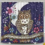 BINGO FLAG Funny Fabric Shower Curtain Paintings Baby Owls Waterproof Bathroom Decor With Hooks 60 X 72 Inch