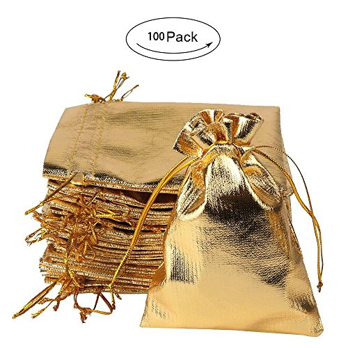 100 Pcs Wedding Gold Favor Bags,Wedding Candy Bags,Gift Bags Wedding Guest Gifts Souvenirs Party Decorations – A New Beginning to A Sweet Ending (Gold)
