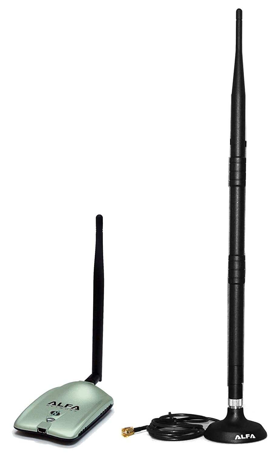 Alfa 2000mW 2W 802.11g/n High-Gain USB Wireless G / N Long-Range WiFi Network Adapter With Original Alfa 9dBi Rubber Antenna with magnetic base *Strongest on the Market* AWUS036NH + 9dBi magnet antenna