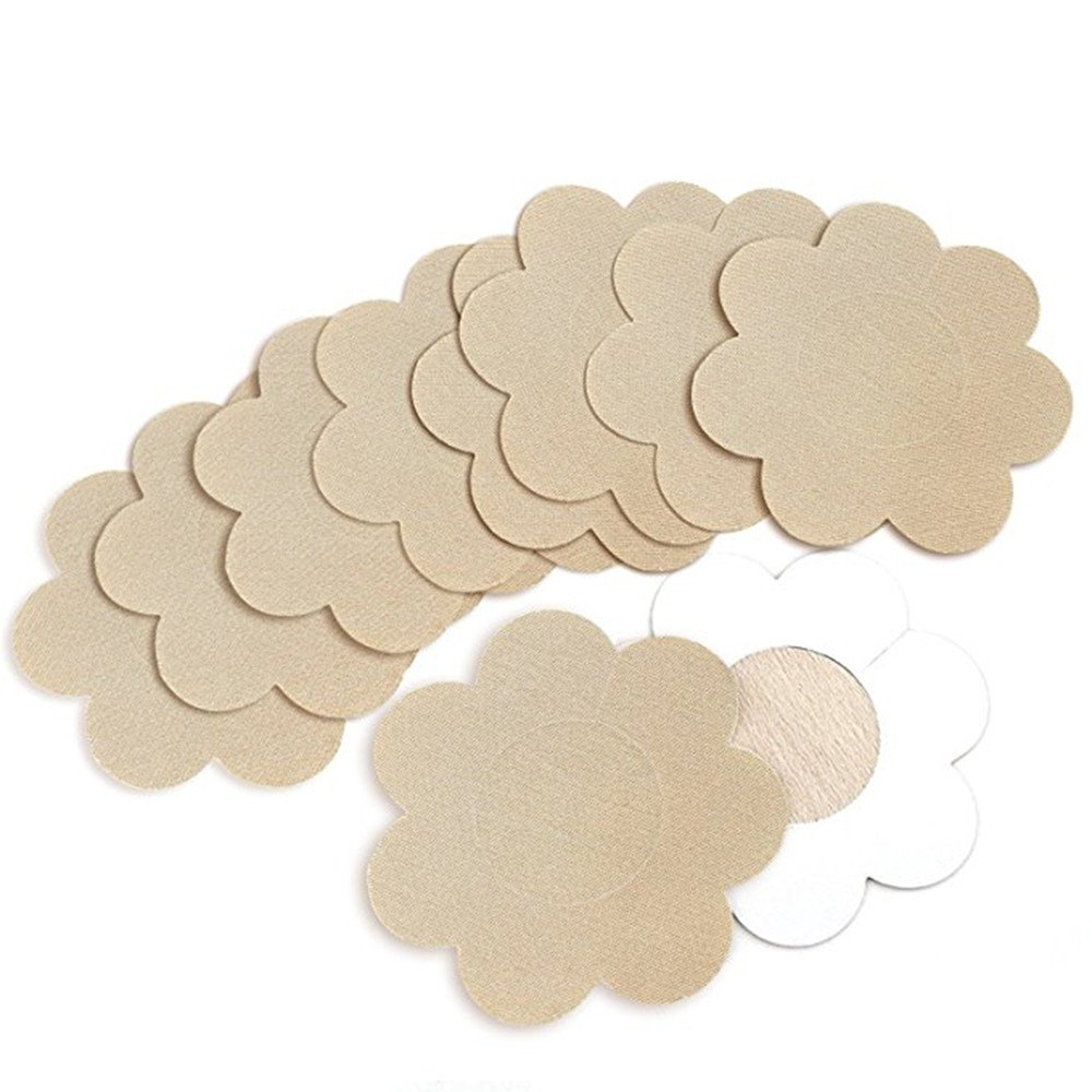 Breast Petal Nipple Covers , Mumustar Disposable Adhesive Invisible Sticky Push Up Breast Pasties Woven Bra Pad Stickers 6 Pair/Pack