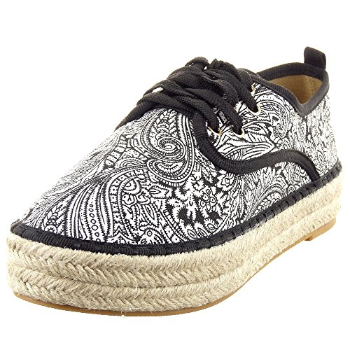 Sopily - damen Mode Schuhe Espadrilles Sneaker Plateauschuhe Blumen - Schwarz