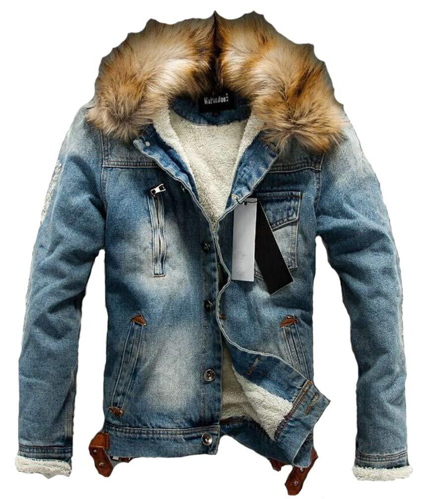 Lavnis Men's Denim Fleece Jacket Casual Faux Fur Collar Sherpa Coat Jeans Trucker Jacket Blue 2XL by Lavnis