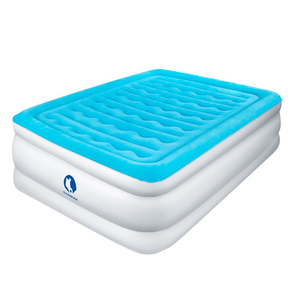Canway Air Mattress, Elevated Raised Comfort Inflatable Airbed with Built-in Electric Pump Queen Size Height 22''