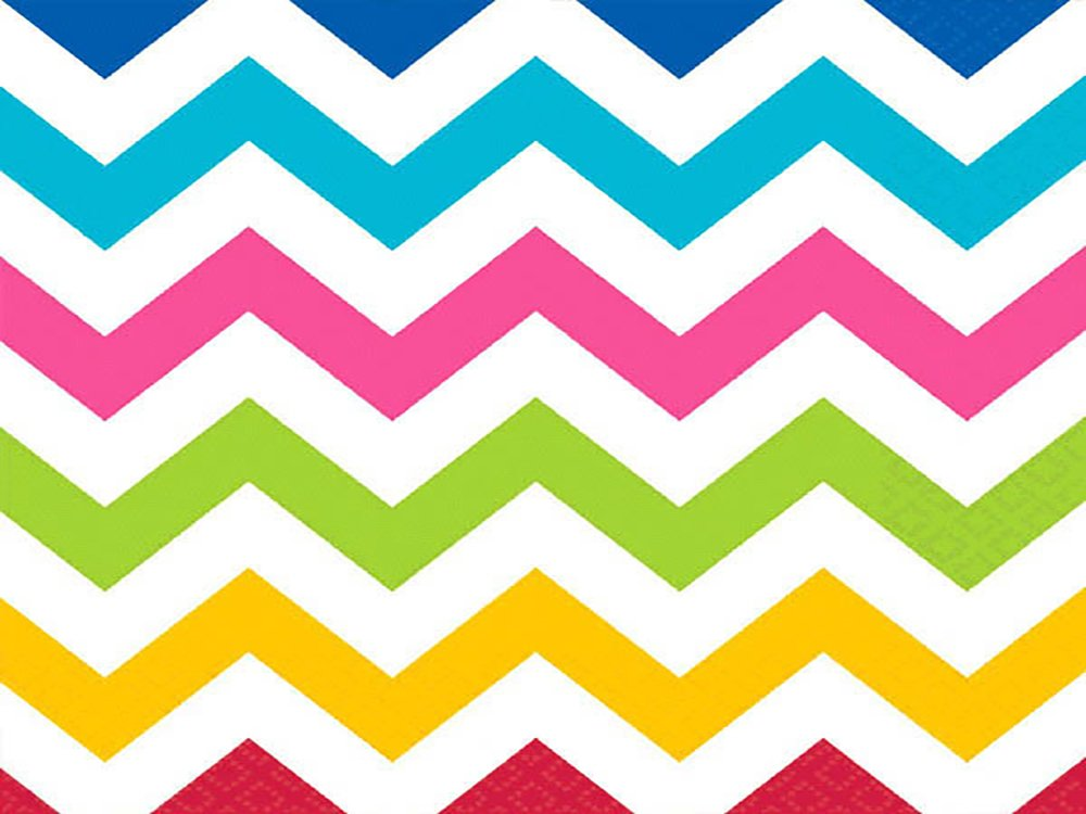 Amscan Perfect Disposable Chevron Print Luncheon Napkins Multicolored Paper 6'' x 6'' Pack 16 Others Party Supplies