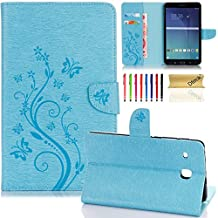 "T377a/T377v Case, Galaxy Tab E 8.0"" Tablet Case, Dteck? Slim PU Leather Magnetic Closure Flip Stand Case [Embossed Flower Design] Protective Case for Samsung SM-T375/T377 4G LTE Verizon,Blue"