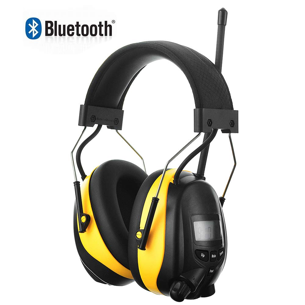 Bluetooth AM/FM Radio Headphones with 1200mAh Rechargeable Lithium Battery & Built-in Microphone, NRR 25dB Wireless Hearing Protection Safety Work Ear Muffs,Noise Reduction Headsets for Mowing Lawn
