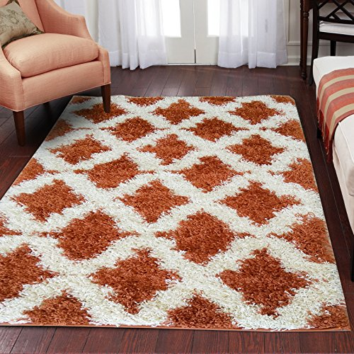 Adgo Chester Shaggy Collection Moroccan Mediterranean Trellis Lattice Design Vivid Color High Soft Pile Carpet Thick Plush Fluffy Kids Bedroom Living Dining Room Shag Floor Rug, Copper Ivory, 3' x 5'