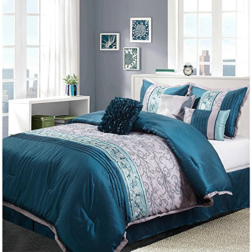 Ms 7pc Teal Aqua Silver Embroidered Floral Pintuck Comforter Set Cal