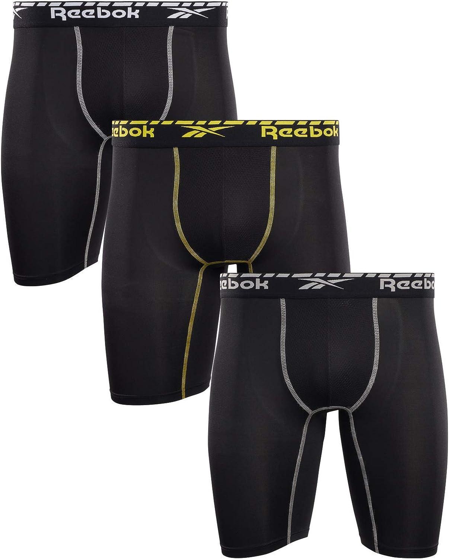 Reebok Lot de 3 boxers de compression pour homme