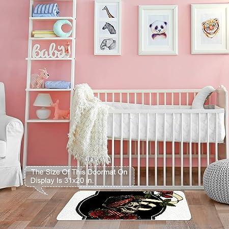 Area Rugs 31 x 20 Inch Flame Anger Skull Floor Carpet Mat Doormats for Living Room Home