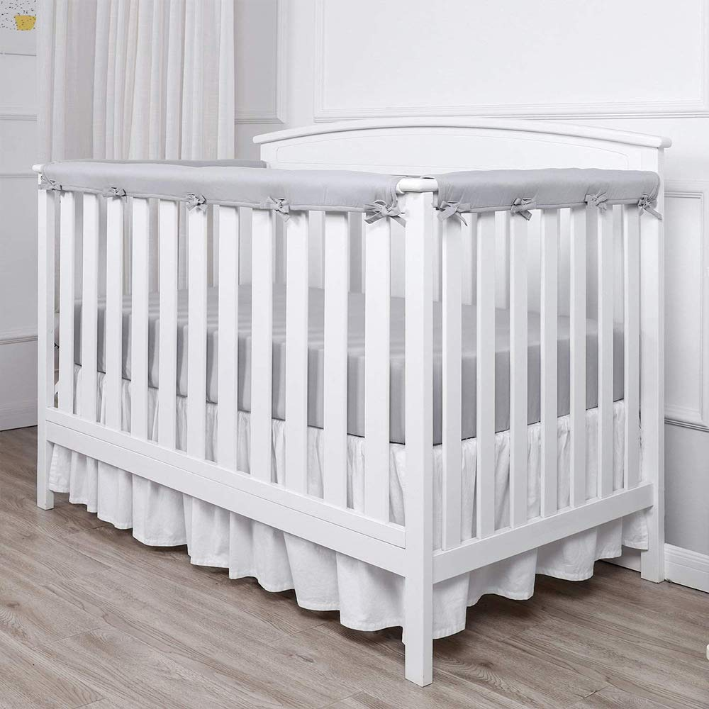 Fits Side and Front Rails Grey JHION 3-Piece Baby Crib Rail Cover Protector Set from Chewing for Standard Cribs,100/% Silky Soft Microfiber Polyester