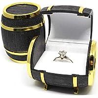 Engdash elegante velluto orecchini gioielli display box barile di legno anello box
