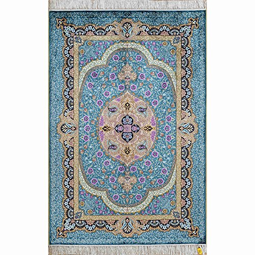 Yilong 3'x4.5' Handmade Turkish Oriental Silk Rug Floral Tapestry Traditional Hand Knotted Living Room Carpet (3 Feet by 4.5 Feet, Turquoise) 0059