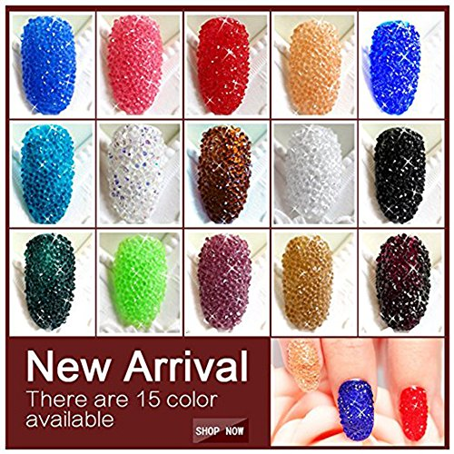 Minejin Nail Art Mini Rhinestones Micro Crystals Sharp Bead Phone Mini Gems Diy Art Decoration Need Glue 1400Pcs (Clear)