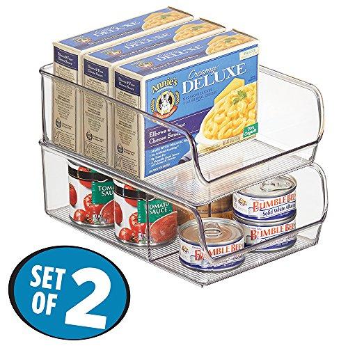 mDesign Kitchen Cabinet Organizers, Storage for Fridge, Freezer, Pantry (Set of 2) – Clear