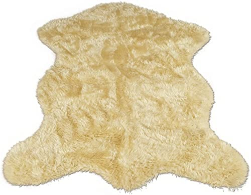 Walk on Me Classic Faux Fur Sheepskin Rug in Ivory – Pelt Shape – New Made in France 2×4, 3×5 or 5×7 5×7 Actual 56 x 79