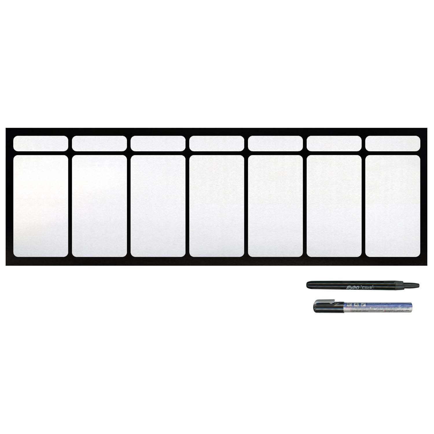 Cohas Magnetic Backed Large 7 Day Calendar includes Black Markers, Whiteboard, 1 Week