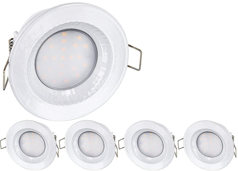 5er Pack - LED Feuchtraum IP54 Einbaustrahler 230V - 5 Watt - 430 Lumen - Aluminium-Druckguss - Lochkreis Ø68mm - warmweiß (2900 K) [Energieklasse A+] HAVA