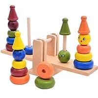 Deylay Wooden Stacker ve Balance Toy set–Palyaço Ring gökkuşağı Tahterevalli pedagojik oyuncak bebek ve çocuklar için