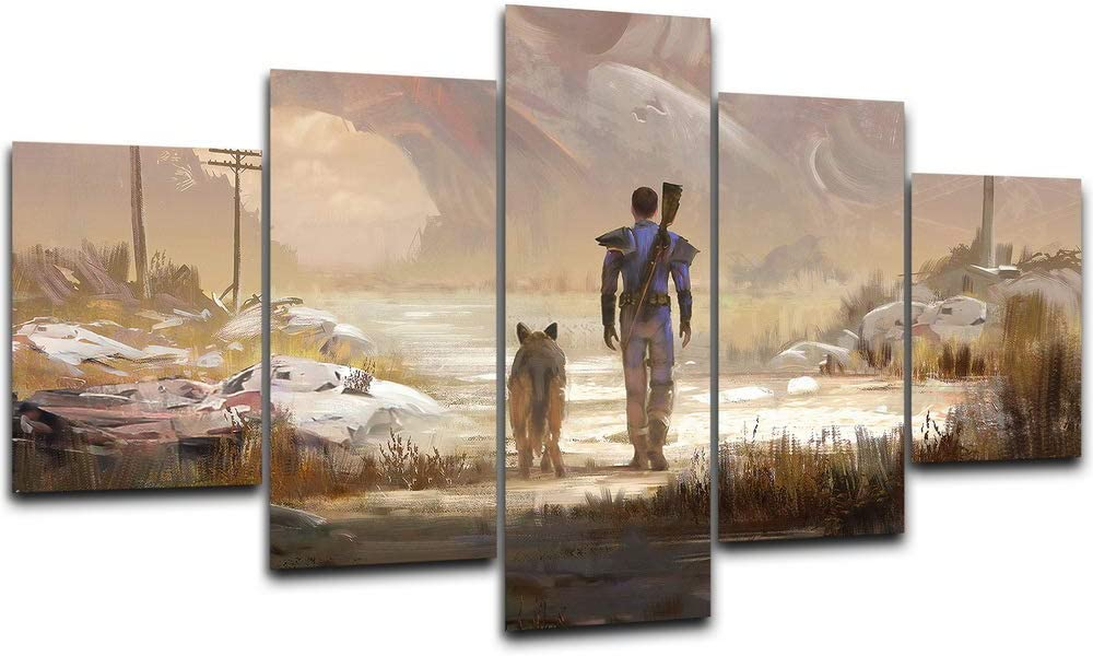Fallout 4 Game Canvas Posters Home Decor Wall Art Framework 5 Pieces Paintings for Living Room HD Prints Pictures