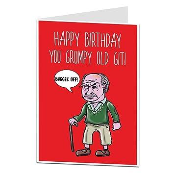 Funny Rude Old Man Husband Dad Grumpy Old Git Birthday Card Amazon