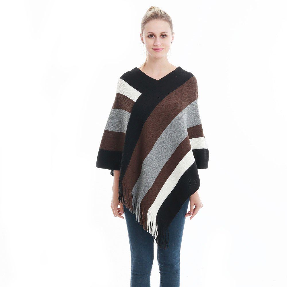 Lady's Stripe Patterns Knitted Poncho Tops Shawl Cape Batwing Blouse with Fringed Sides (Black&Brown)
