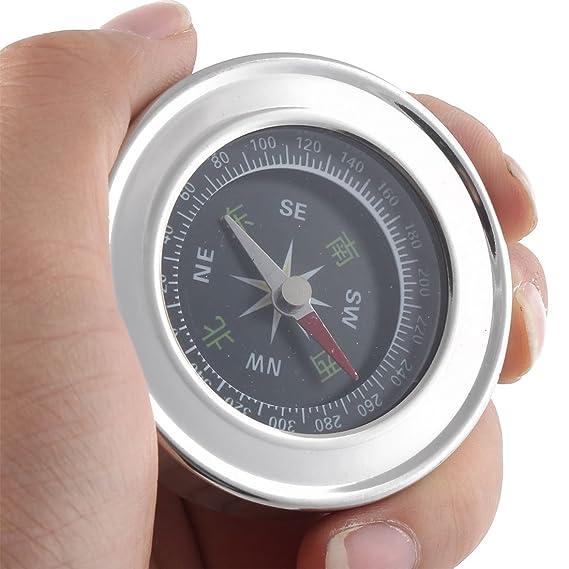 Outdoor Hiking Camping Portable Round Dial Sensitive Compass Silver Tone 6cm Dia