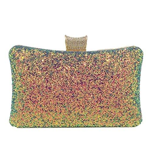 Wedding Purple Evening Fashion Handbags Clutch Purse Glitter Bag Metal Green Elegant Silver Women BSqdaRzzw