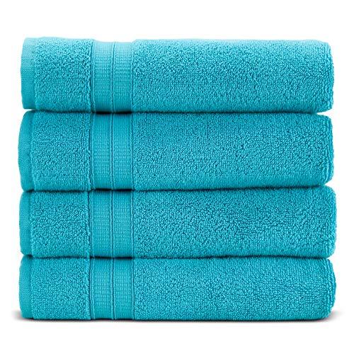 Premium Turkish Cotton 4-Piece Bath Towels for Bathroom (Aqua Blue)