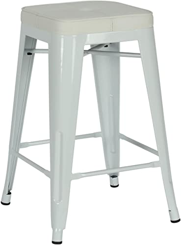 Novogratz Sedona Counter Stool with Metal Legs and Faux Leather Seat, Set of Two, White