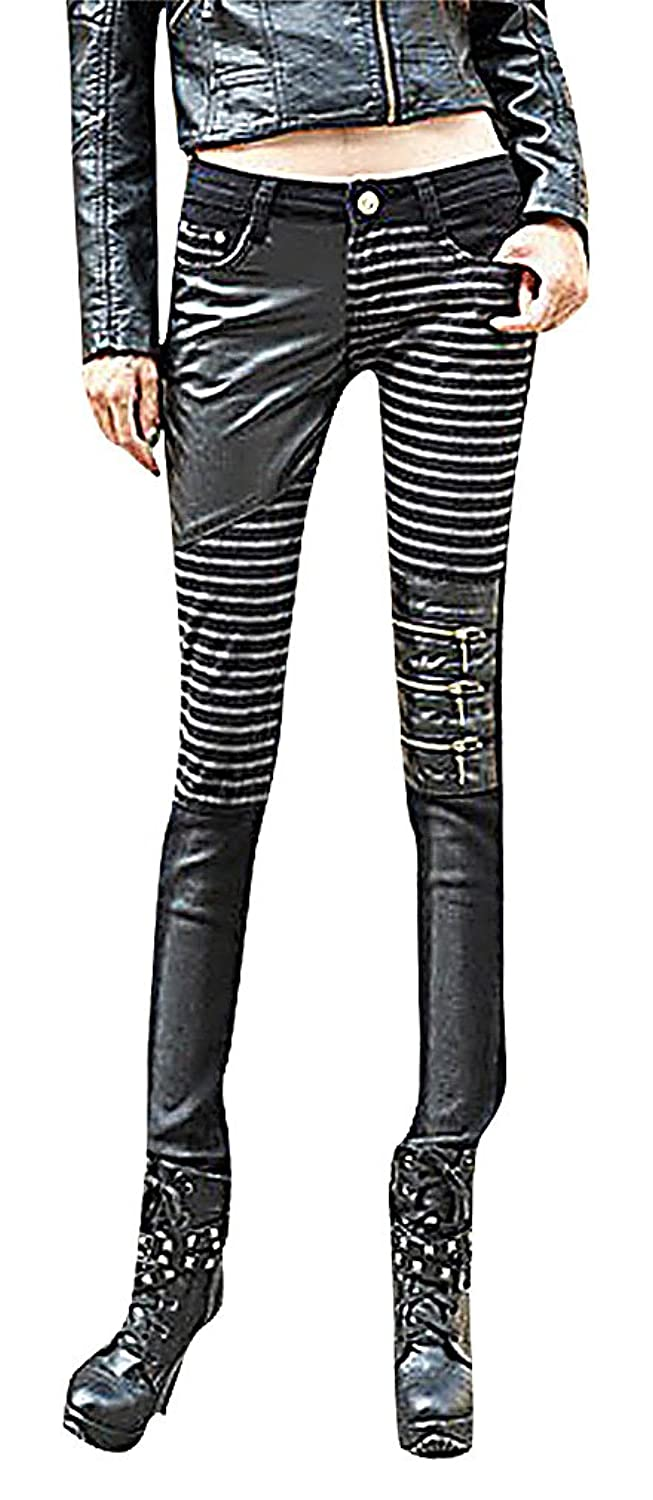 ALLEGRA Women's Fashion PU Leather Fitted Jeans Mid Waisted Zipped Striped