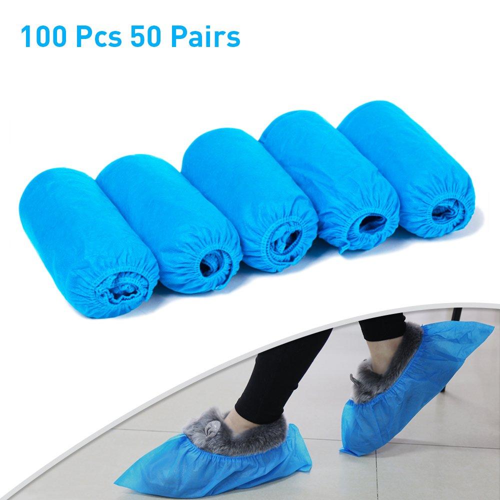 iNeith Couvre-chaussures 100 Pièces Jetables Couvre-chaussures 50 Paires Plus Épais Tissu Non Tissé Bleu Bande Élastique Respirant à la Poussière