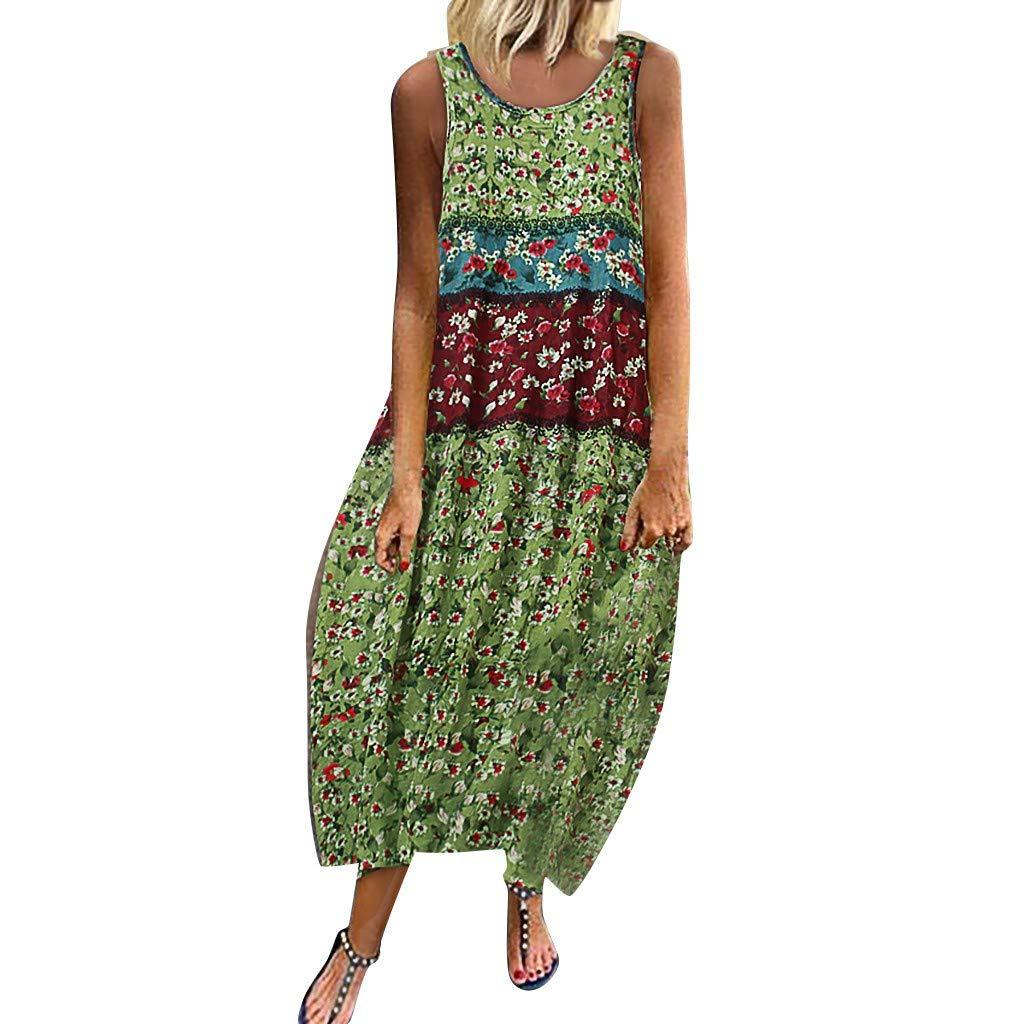 Aniywn Womens Vintage Bohemian Print Floral Mini Dress Summer Sleeveless O-Neck Maxi Dress Plus Size Green by Aniywn