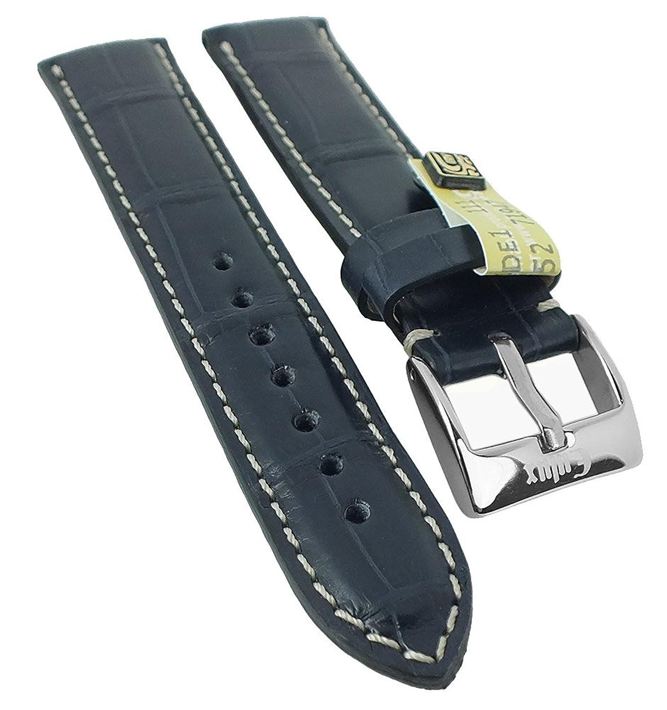 Alligator Highline Ersatzband Uhrenarmband 18mm - 22mm | Alligator-Leder dunkelblau - seidenglÄnzend 30400 - Stegbreite